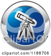 Clipart Of A Round Blue And Chrome Telescope Icon Royalty Free Vector Illustration