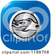 Clipart Of A Square Silver And Blue Comet Icon Royalty Free Vector Illustration by Lal Perera