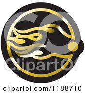 Clipart Of A Black And Gold Comet Icon Royalty Free Vector Illustration by Lal Perera