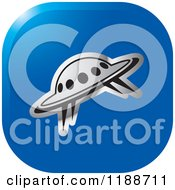 Clipart Of A Square Blue And Silver UFO Icon Royalty Free Vector Illustration by Lal Perera