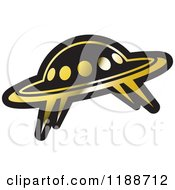 Clipart Of A Black And Gold UFO Icon Royalty Free Vector Illustration by Lal Perera