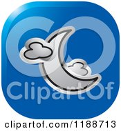 Clipart Of A Square Blue And Silver Crescent Moon And Clouds Icon Royalty Free Vector Illustration
