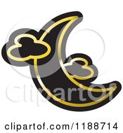 Clipart Of A Black And Gold Crescent Moon And Clouds Icon Royalty Free Vector Illustration