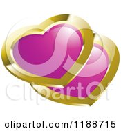 Clipart Of A Gold And Pink Hearts Icon Royalty Free Vector Illustration