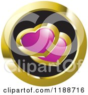Clipart Of A Round Gold And Black Icon With Two Hearts Royalty Free Vector Illustration