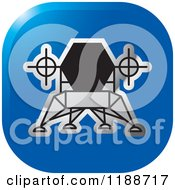 Clipart Of A Square Blue And Silver Robotic Spacecraft Icon Royalty Free Vector Illustration