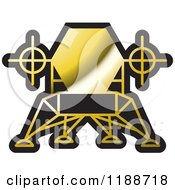 Clipart Of A Black And Gold Robotic Spacecraft Icon Royalty Free Vector Illustration