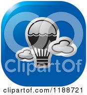 Clipart Of A Square Blue And Silver Hot Air Balloon Icon Royalty Free Vector Illustration by Lal Perera