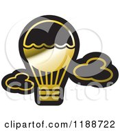 Clipart Of A Black And Gold Hot Air Balloon Icon Royalty Free Vector Illustration by Lal Perera