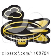 Clipart Of A Black And Gold Air Ship Icon Royalty Free Vector Illustration