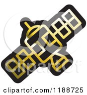 Clipart Of A Black And Gold Space Satellite Icon Royalty Free Vector Illustration by Lal Perera