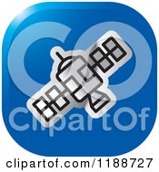 Clipart Of A Square Blue And Silver Space Satellite Icon Royalty Free Vector Illustration by Lal Perera