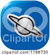 Clipart Of A Square Silver And Blue Planet Icon Royalty Free Vector Illustration