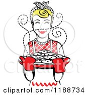 Clipart Of A Retro Blond Housewife Holding Freshly Baked Cookies Royalty Free Vector Illustration