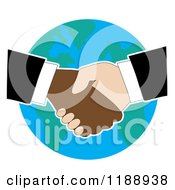 Diverse Business Men Shaking Hands Over Earth