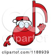 Cartoon Of A Happy Waving Christmas Music Note Mascot Royalty Free Vector Clipart