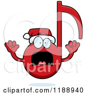 Cartoon Of A Scared Christmas Music Note Mascot Royalty Free Vector Clipart