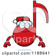 Cartoon Of A Happy Christmas Music Note Mascot Royalty Free Vector Clipart