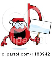 Cartoon Of A Happy Christmas Music Note Mascot Holding A Sign Royalty Free Vector Clipart
