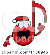 Cartoon Of A Happy Christmas Music Note Mascot With An Idea Royalty Free Vector Clipart