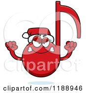 Cartoon Of A Mad Christmas Music Note Mascot Royalty Free Vector Clipart