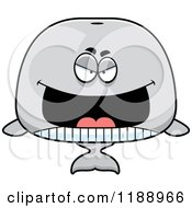 Cartoon Of A Grinning Evil Whale Mascot Royalty Free Vector Clipart