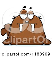 Cartoon Of A Bored Or Skeptical Walrus Mascot Royalty Free Vector Clipart by Cory Thoman