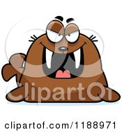 Cartoon Of A Grinning Evil Walrus Mascot Royalty Free Vector Clipart by Cory Thoman