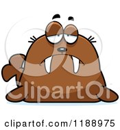 Cartoon Of A Depressed Walrus Mascot Royalty Free Vector Clipart by Cory Thoman