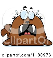 Cartoon Of A Scared Walrus Mascot Royalty Free Vector Clipart by Cory Thoman