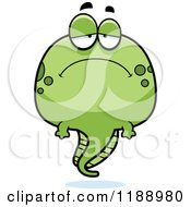 Cartoon Of A Depressed Tadpole Mascot Royalty Free Vector Clipart by Cory Thoman