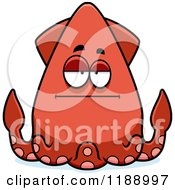 Cartoon Of A Bored Squid Royalty Free Vector Clipart