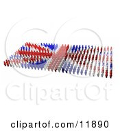 Blue And White People Forming A Union Jack Flag Clipart Illustration