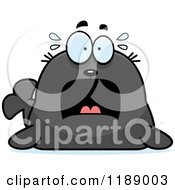 Cartoon Of A Scared Seal Royalty Free Vector Clipart