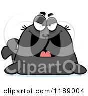 Cartoon Of A Grinning Evil Seal Royalty Free Vector Clipart
