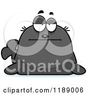 Cartoon Of A Bored Seal Royalty Free Vector Clipart
