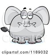 Cartoon Of A Depressed Elephant Mascot Royalty Free Vector Clipart