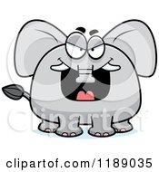 Cartoon Of A Grinning Evil Elephant Mascot Royalty Free Vector Clipart