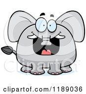 Cartoon Of A Excited Grinning Elephant Mascot Royalty Free Vector Clipart