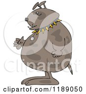Cartoon Of A Junk Yard Dog Standing Upright With Fisted Paws Royalty Free Vector Clipart
