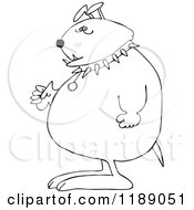 Cartoon Of An Outlined Junk Yard Dog Standing Upright With Fisted Paws Royalty Free Vector Clipart