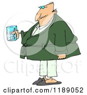 Cartoon Of A Senior Man With A Cane And Teeth In A Glass Royalty Free Clipart