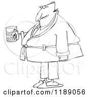 Cartoon Of An Outlined Senior Man With A Cane And Teeth In A Glass Royalty Free Vector Clipart by djart