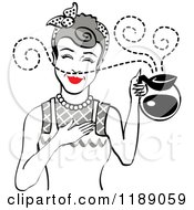 Clipart Of A Gray Haired Waitress Or Housewife Smelling The Aroma Of Fresh Hot Coffee In A Pot Royalty Free Vector Illustration