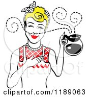 Blond Haired Waitress Or Housewife Smelling The Aroma Of Fresh Hot Coffee In A Pot