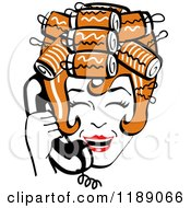 Clipart Of A Happy Retro Redhead Housewife With Her Hair Up In Curlers Laughing While Talking On A Landline Telephone Royalty Free Vector Illustration