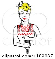 Clipart Of A Retro Blond Housewife Or Maid Woman Grinding Fresh Pepper Royalty Free Vector Illustration