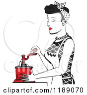 Retro Happy Black Haired Housewife Using A Manual Coffee Grinder In Profile
