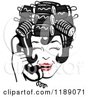 Clipart Of A Happy Retro Black Haired Housewife With Her Hair Up In Curlers Laughing While Talking On A Landline Telephone Royalty Free Vector Illustration