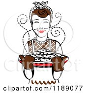 Clipart Of A Retro Happy Brunette Housewife Holding Freshly Baked Cookies 2 Royalty Free Vector Illustration